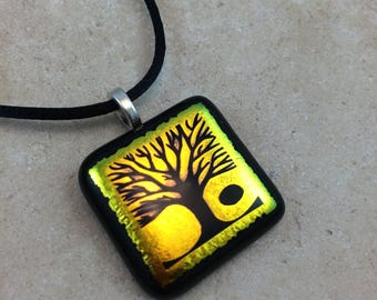 Tree of Life Necklace, Tree Pendant, Gold Yellow Dichroic Pendant, Fused Glass Jewelry, Dichro Glass Jewelry, Dichroic Pendant - HEA490