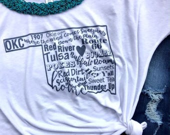 gifts for her/Oklahoma shirt/OK shirt/Oklahoma tee/OK tee/Oklahoma tank/OK tank/state pride shirt/Oklahoma/Tulsa/okc t shirt/Route 66