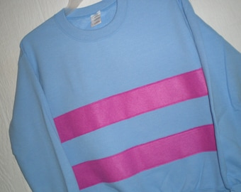 Frisk shirt, Untertale shirt, Frisk sweatshirt, costume, cosplay shirt, blue sweatshirt with magenta stripes, unisex adult sizes