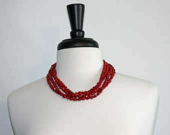 Chunky Red Coral Necklace with Sterling Silver, Chunky Red Necklace, Coral Necklace, Red Necklace