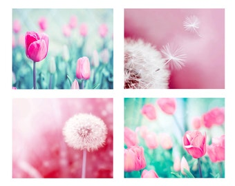 dandelion photography tulips dandelion print set 8x10 11x14 fine art photography nature nursery decor floral photography botanical pink aqua