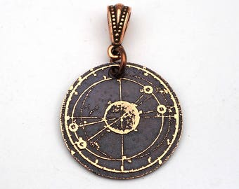 Galaxy pendant, small round flat etched cosmos jewelry, 25mm