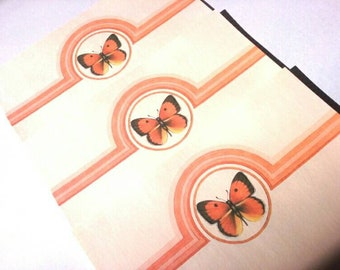 Vintage Stationary Set from Current, Inc. - Orange Butterfly and Stripes Motif - Retro 70s Paper and Envelopes - Boxed Set