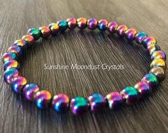 Rainbow Hematite handcrafted bracelet
