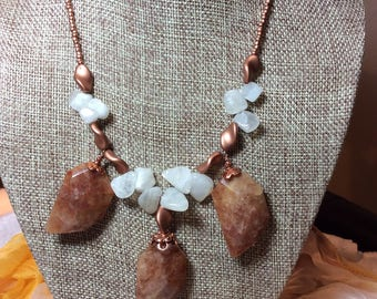 """Cinnamon Quartz Pendant with Moonstone Nuggets on Copper 18""""  Necklace and Earring Set"""