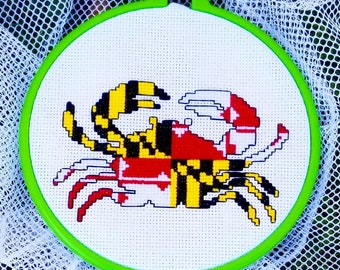 Maryland Flag Blue Crab Completed Cross Stitch