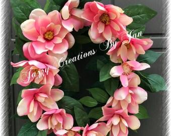 Magnolia Wreath Oval Grapevine Magnolia Wreath Magnolia Door Hanger