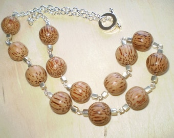 Wood and Silver Necklace
