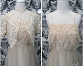 70s Cream Wedding Dress and Jacket Set / S / M
