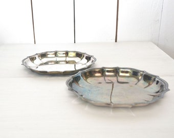 Silver Plate Dishes 60s Vintage Scallop Edge Mini Dresser Trinket Jewelry Storage Trays