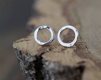 Silver Stud Earrings | Mother Gift | Silver Circle Earrings Handmade | Hammered Silver Minimal Jewelry | Handmade Jewelry | Earrings Stud