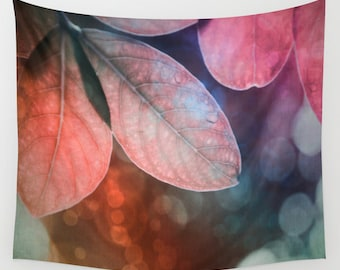 Leaves Wall Tapestry, Forest Wall Art, Colorful Large, Office, Dorm, Tree Fine Art Photography, Nature, Wedding Gift, Outdoor, Garden, Pink