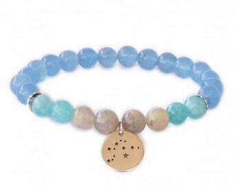 Aquarius birthstone bracelet / Star constellation bracelet / Birthstone bracelet / Aquarius bracelet / Aquamarine bracelet