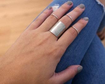 Silver Ring Set - Knuckle Ring Set - Midi Ring Set - Silver Knuckle Ring - Silver Midi Ring - Silver Cuff Ring Set - Adjustable Ring