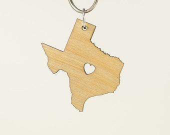 Texas Birch Wood Keychain - Wooden Texas Carved Key Ring - Wooden TX Charm Birch Wood - State of Texas Keychain - TX State Keychain