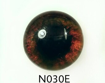 N030E Glass Eye Cabochon, handpainted on clear high domed fused glass, dog/bear eyes, deep amber/ brown, muddled lrg pupil, Single eye