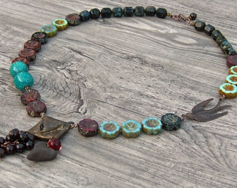 Love Message - Boho rustic mixed media necklace knotted  art beads and Czech glass- Scorched Earth - Painting with Fire- WinterBirdStudio