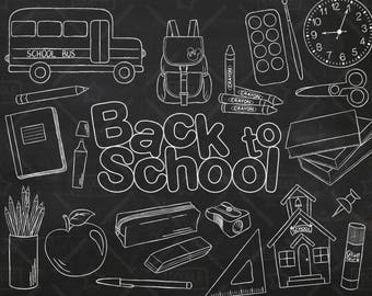 Chalkboard Back To School Vector Pack, Hand Drawn School Clipart, School Supplies, Backpack,Notebook, Scissors, Pencils Clipart,SVG,PNG file