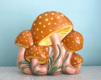 Groovy Mushroom Napkin Holder Ceramic 1970s