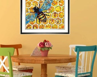 Honey Bee wall art, bee print, Bee wall art, Framed garden art, honeycomb, by Johno Prascak