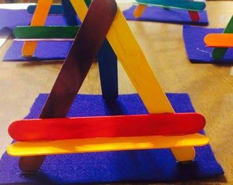Popsicle stick mini easel, mini easel, popsicle stuck easel, art easel, 8x10 easel, kids easel, craft party easel, kids crafts, kids paint