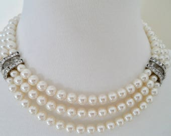 Vintage Faux Pearl and Rhinestone Multi Strand Necklace Pearl Collar Necklace Bridal Necklace Wedding Necklace Vintage Pearl Choker Necklace