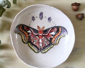 Moth Bowl, handmade porcelain ceramics