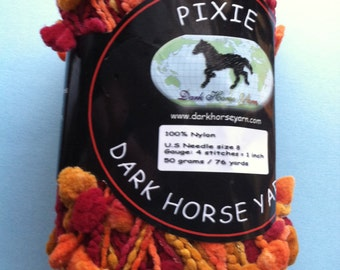 Dark Horse Yarns Pixie #109 Oranges Reds Pouf Pom Pom on Cord Yarn - 50 Gram 76 Yards