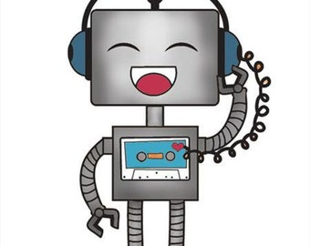 Rockin Robot Stamp - Imaginisce - Rubber Acrylic Stamp