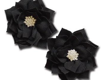 Maya Road Shimmering Pointed Petal Flower - Emo Black