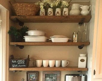 Wooden Floating Shelves With Industrial Pipe Fittings - Custom Sizes/Finishes