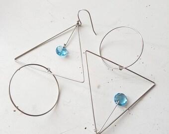 Geometric Earrings, Long Dangle Earrings, Silver Triangle Earrings, Hoop Earrings, Statement Jewelry, Bold, Everyday Crystal Earrings, Aqua