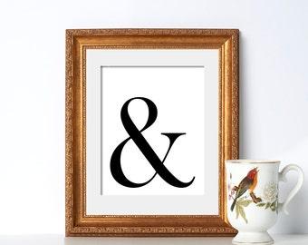Living Room Poster Digital Download Black and White Poster Living Room Printable Ampersand Art Ampersand Printable Typography Poster Art