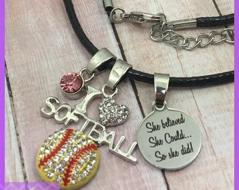 Personalized Softball Gifts - Softball Necklace - Birthstone Necklace - She Believed She Could So She Did, Graduation, Senior Night, I Heart