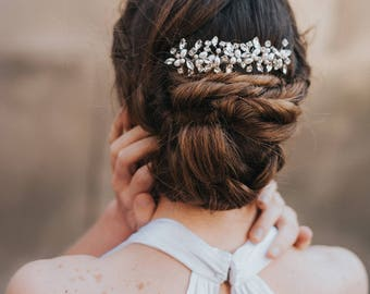 """Beaded Hair Comb, Boho Hair Comb - """"Brooklyn"""" Rhinestone and Pearl Bridal Hair Comb (Silver, Silver with Opal, Gold or Rose Gold)"""