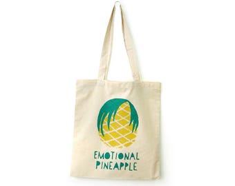 Canvas tote bag, Reusable shopping bag, Market bag, Pool bag, Fun tote bag, Pineapple tote bag, Tote bags, Handprinted by Olula