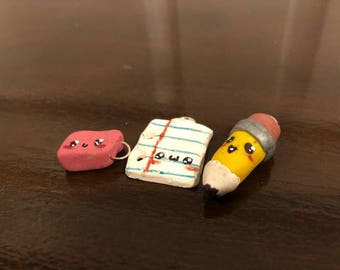 Handmade Lot of 3 School Charms, Eraser, Paper and Pencil