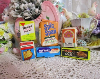 Vintage Play Food Containers-Boxes-Early 1980's-Pretend Play-Imagination-Doll Size-Barbie