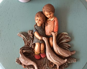 Wall Hanger-boy and girl with geese