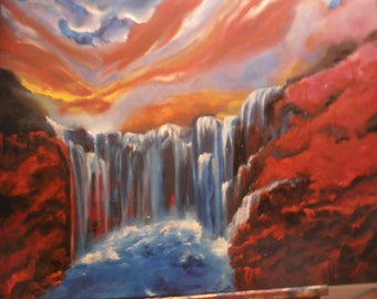 Fire and water, oil painting, waterfall, nature, Sun, cloud, inspiration, painting, mood,