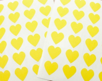 "Heart Stickers, Seals, Envelope Labels, Buttercup, Yellow, 1.5"", 20 Stickers, Baby Shower, Wedding Shower, Invitation Seals"