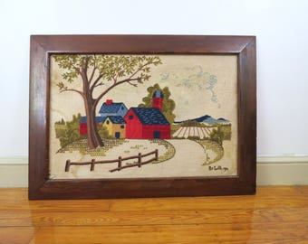 Large Framed Crewel Embroidery Scene // Vintage Finished Completed Farm House Scene Rustic Cottage Chic Home Decor Yarn Fiber Arts