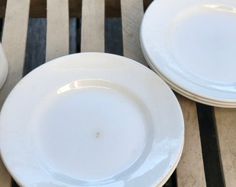 Set of 6 white cream Vintage French plates from a famous maker Digoin