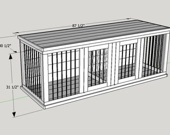 Blueprint plans etsy plans to build your own wooden double dog kennel size large malvernweather Image collections