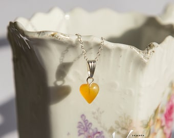Tiny heart Baltic amber pendant with inclusions, sterling silver necklace, natural amber, milky orange baltic amber dainty heart