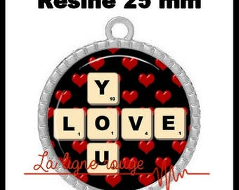 Silver toned round cabochon 25 mm epoxy resin - Love You (1409) - text, Valentine, love