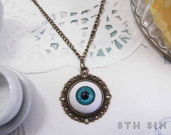 Antique Bronze & Blue Eyeball Necklace, Eyeball Cameo Necklace, Blue Eyeball Necklace, Evil Eye Necklace, Bronze Eyeball Necklace