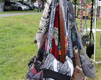 Black and white repurposed sweaterbag