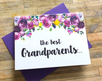 Grandparents Pregnancy Announcement Card - Pregnancy Reveal to Grandparents - New Great Grandparents - We Are Having a Baby - VIOLETS