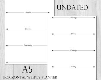Weekly Planner Printable Horizontal Layout A5 Size Undated - Week on 2 Pages